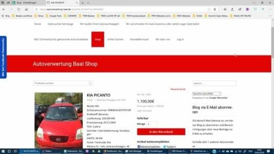Projekt wurde am 13.05.2018 von mir gestartet Produkt aus meinem Shop Webseiten Paket Basic Plus Shop Modul https://autoverwertung-baal.de 2018-05-24T16:33:07+00:00 Autoverwertung Baal Projekt13.05.2018-28.05.2018 Webseite, Blog mit ShopAufnahme von Elke Wirtz www.wirtz-elke.de https://www.Blog.Wirtz-Elke.de/testimonials/projekt-autoverwertung-baal-webseite-blog-mit-shop/
