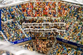 Most of the major buildings in Hamburg are recreated in miniature, including Imtech Arena. There is a full soccer game being played (complete with footage of an actual match). Again, all of the people are made, and painted by hand.
