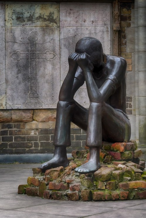 """This sculpture/statue is entitled """"Prüfung"""" in German, which loosely translates to """"The Ordeal"""" or """"The Examination"""" in English. In so many ways it captures the spirit of the memorial."""