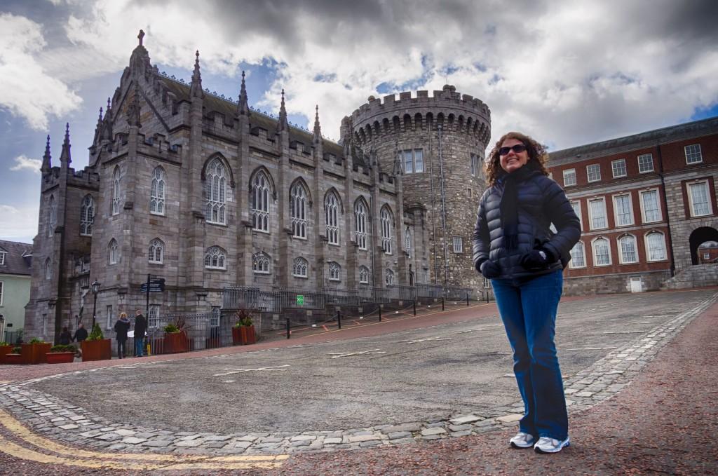 Katie, in front of Dublin Castle.