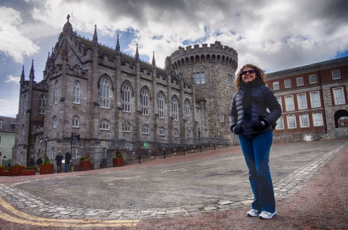 Katie, in front of Dublin Castle.