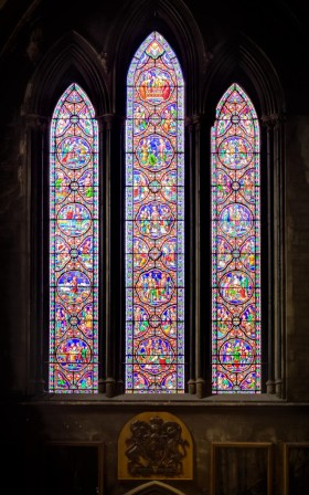 A detailed shot of stained glass panels in St. Patrick's.