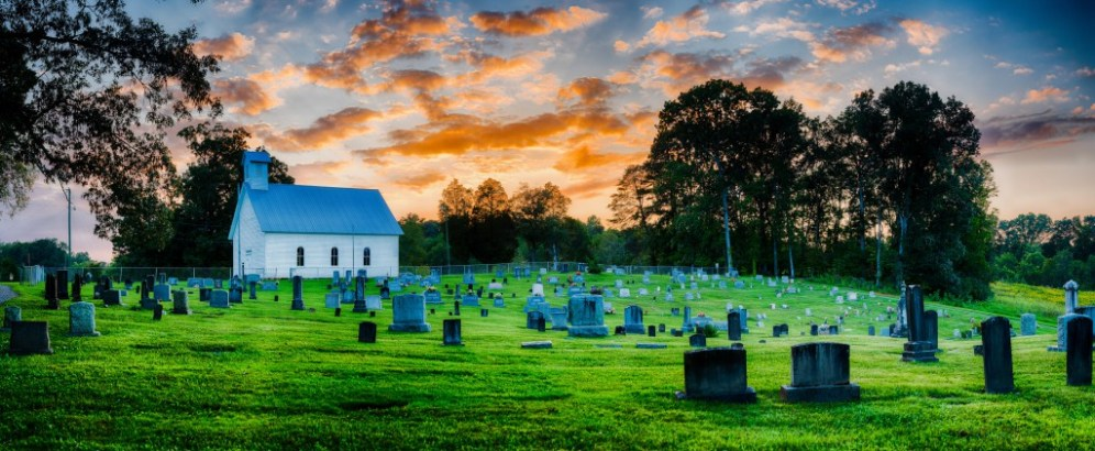 The Seven Islands Methodist Church was constructed in 1865, and sits next to a cemetery on the bank of the French Broad River. This 297 megapixel composite image is created from 238 component images.