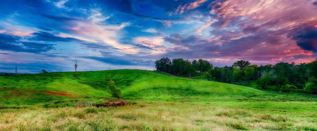 The sunset lights up the sky over Government Farm hill. This 194 megapixel image is composed of 84 component images.