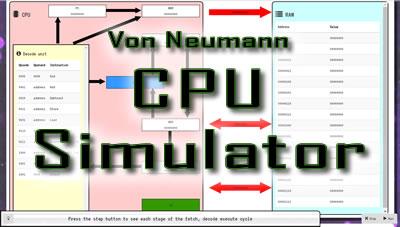 Von Neumann CPU Simulator showing the fetch decode execute cycle