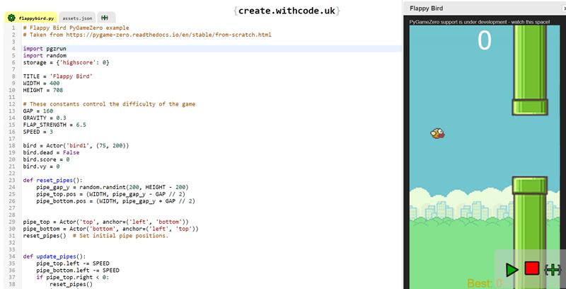 Create games with python: Flappy Bird with PyGameZero