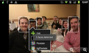 A screen capture of the face blurring mobile app ObscuraCam, from the Guardian Project and WITNESS