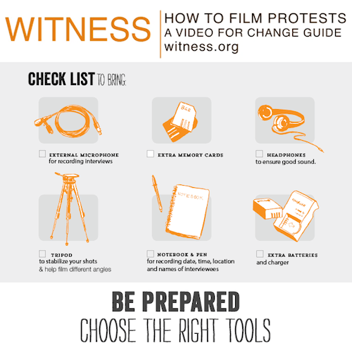 Part of the WITNESS guide to filming protests and police conduct.