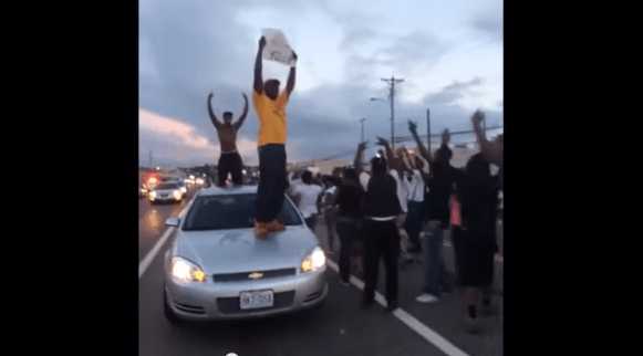 Screenshot of Ferguson, MO protest video Aug 2014
