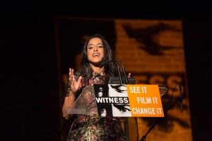 Raja Althaibani delivers remarks on behalf of Rami Jarrah at the 2014 Focus For Change Benefit for WITNESS