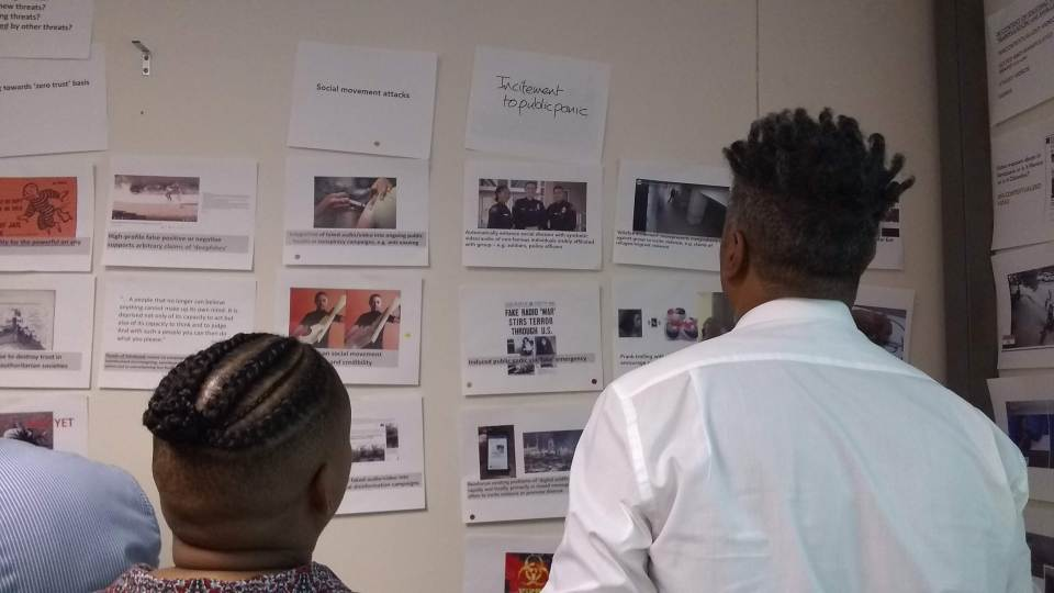 Activists review threat scenarios at the workshop