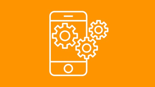 Graphic of phone with gears