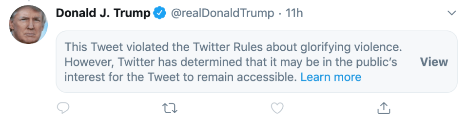 Trump tweet restricted for glorifying violence