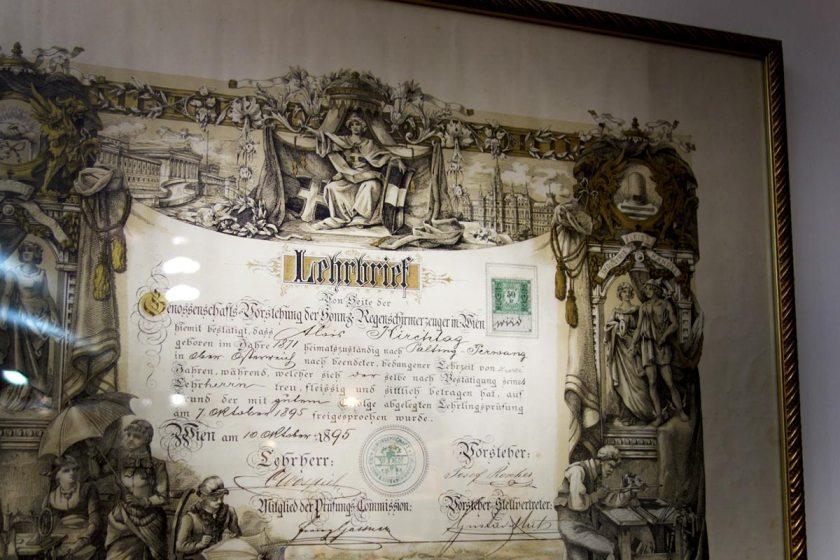 Lehrbrief Schirmmanufaktur Kirchtag Salzburg