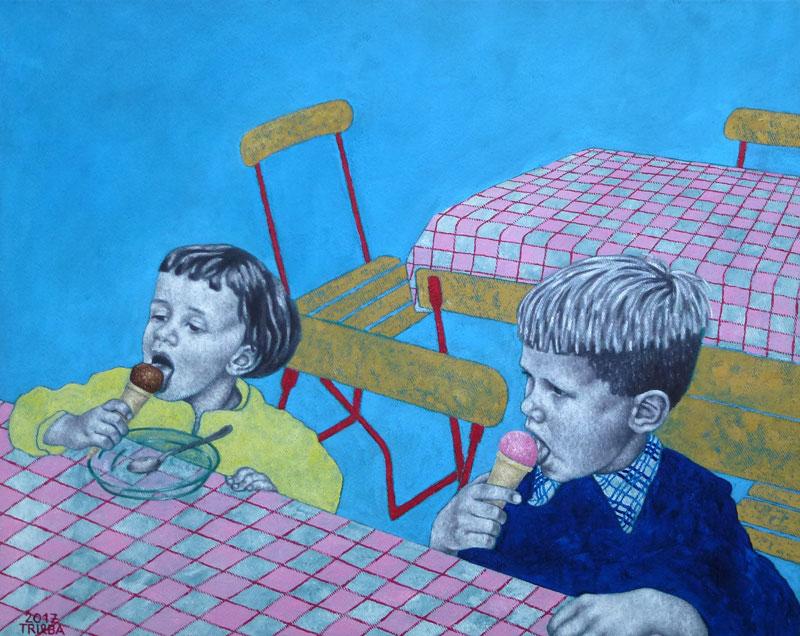 Anne Trieba - Inge und Ludwig essen Eis - 2017 - 50x40