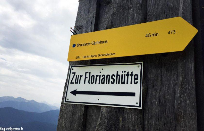 Schild zur Florianhütte