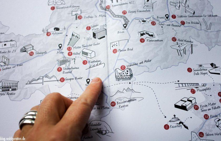 Übersichtskarte - Schauplätze der Architektur in Südtiol - Folio Verlg