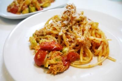 蒜片鮪魚義大利麵成品