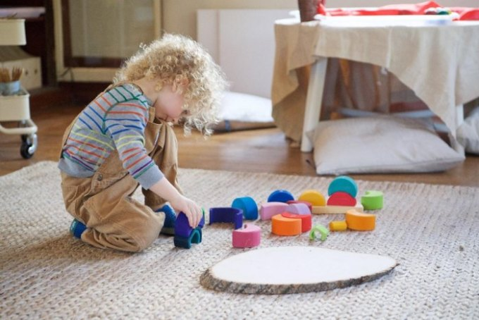 Child playing in a home preschool