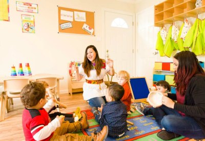 Karen Castro teaching in her in-home preschool
