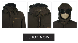 CP Company Dark Brown Hooded Goggle Jacket - Shop Now