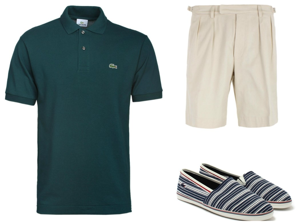 Forest Green Polo, Lacoste Shoes and White Shorts