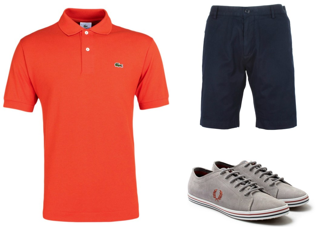Orange Lacoste Polo, Blue Shorts and Fred Perry Shoes