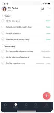 A screenshot of the Asana app