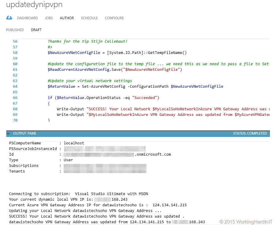Azure Automation Scheduled Runbook PowerShell Script to
