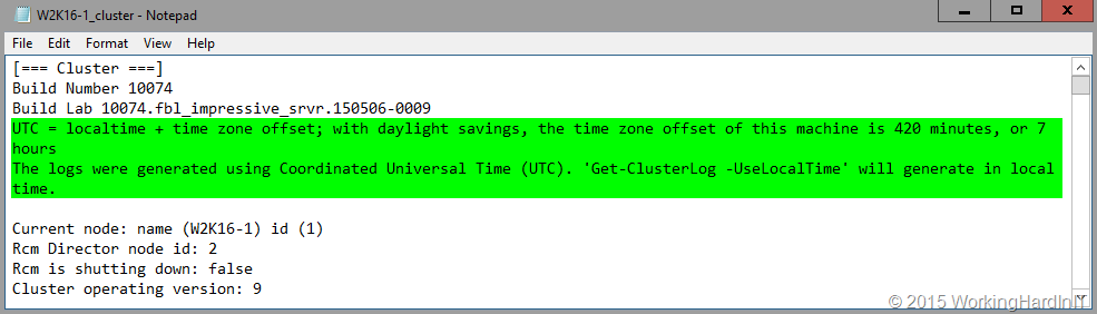 Get-ClusterLog Got Better In Windows Server 2016 - Working Hard In