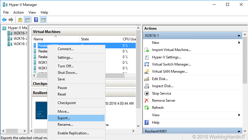 Live Export a Running Virtual Machine or a Checkpoint