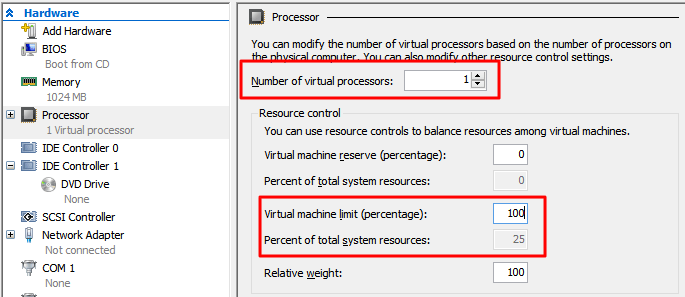 f70a73684f6c So in case of a home lab PC that has 4 cores you can see that setting the  virtual machine limit to 100% means it's limited to 100% of the total  system CPU ...