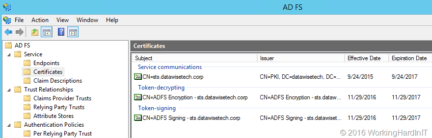 Kick start ADFS when your self- signed certificates have expired