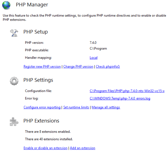 Resolve the 500 Internal Server Error for PHP 7.4 with IIS on Windows Server