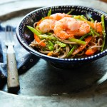 Grilled Shrimp with Spicy Ginger Noodles