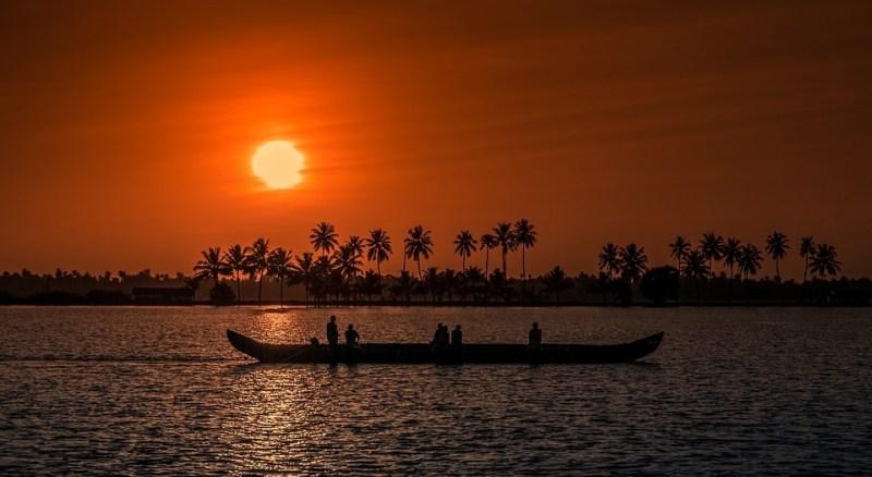 River sunset in Kerala, India