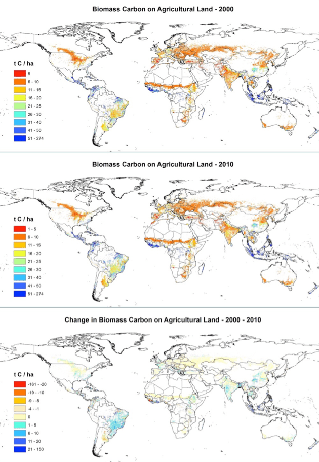 Global map of average biomass carbon per hectare on agricultural land in 2000 and 2010, and the change in average biomass carbon from 2000 to 2010 (tC ha-1). Maps were produced based upon a spatial analysis using ESRI ArcGIS software (version 10.3)