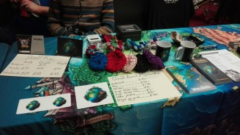 One of the convention tables