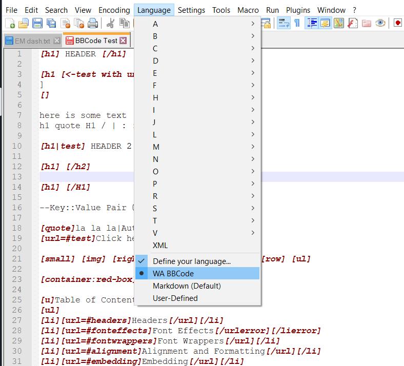 Choose WA BBcode as language