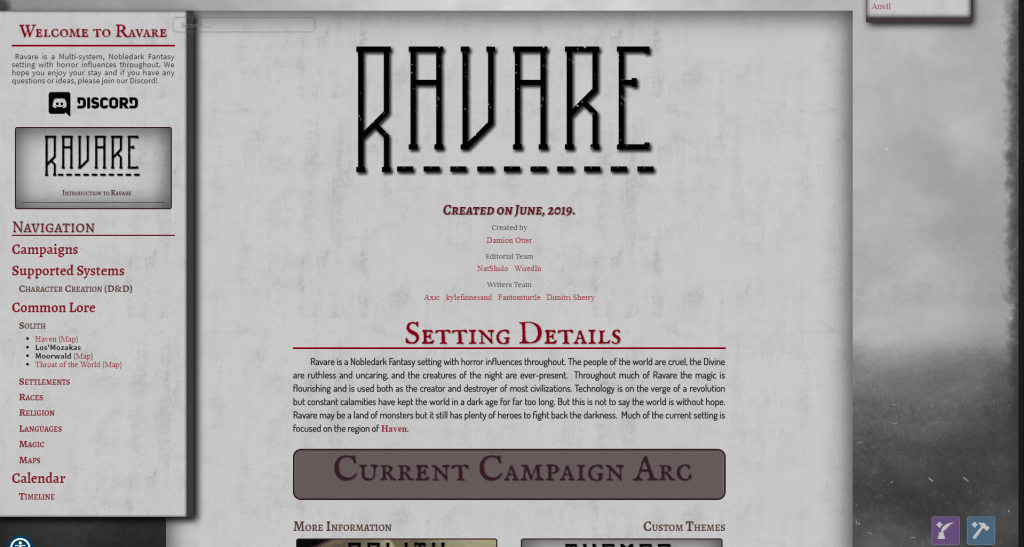 Revare home page for Oneriwien