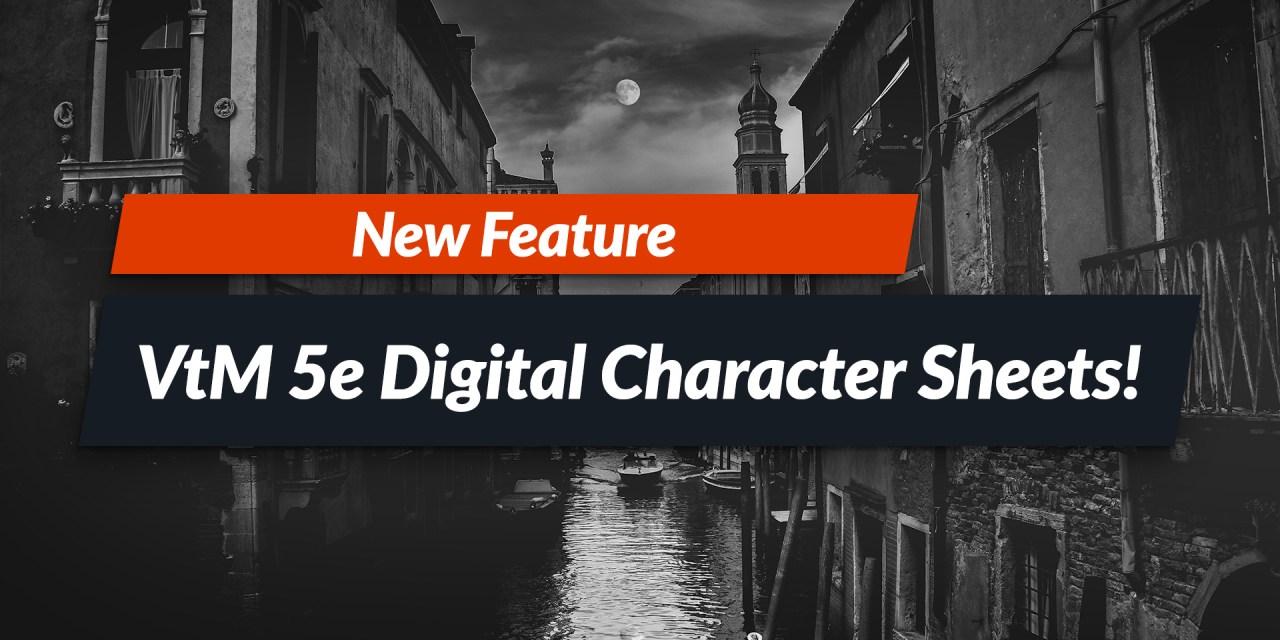Vampire the Masquerade 5e digital character sheet!