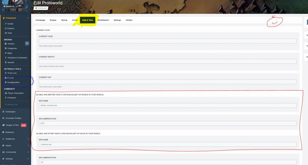 World Anvil tutorial timelines