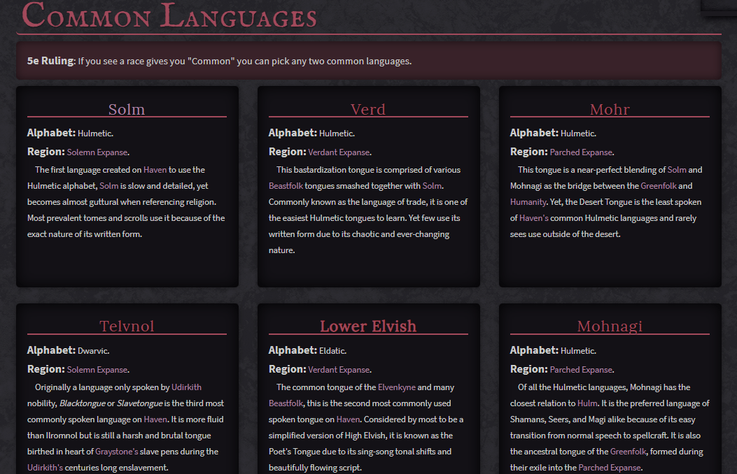 Example of how to organize your conlangs from Ravare