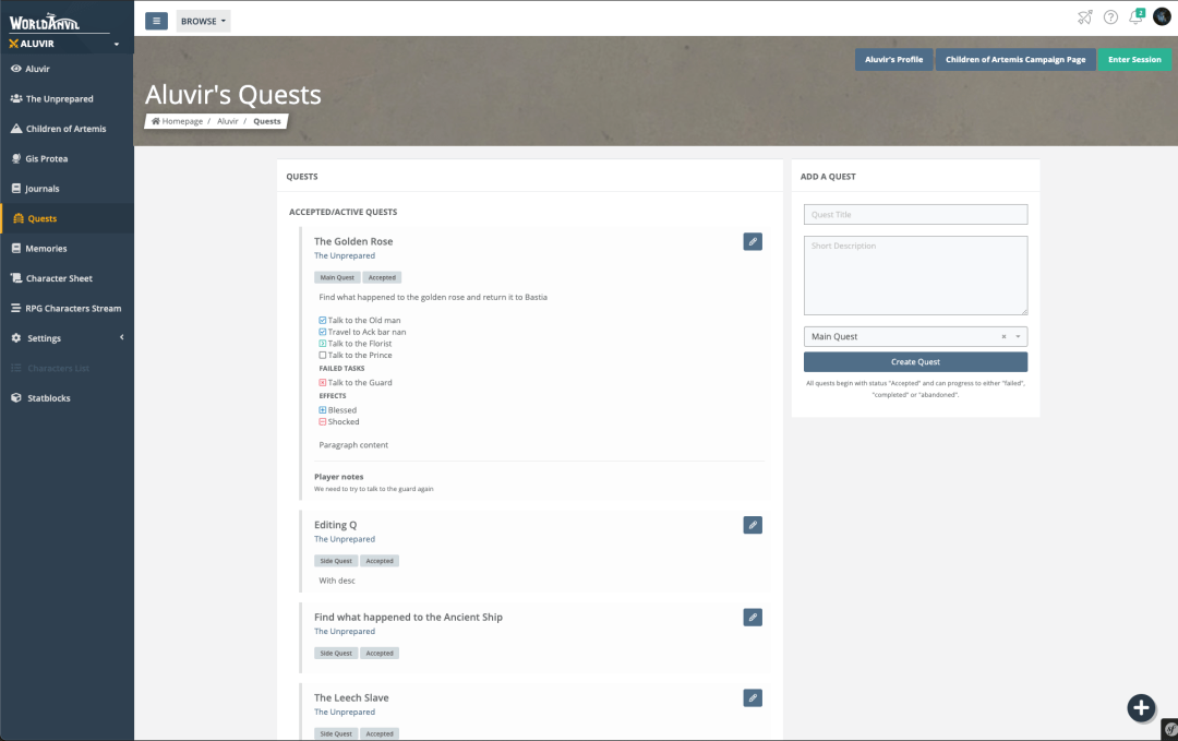 new quest page feature
