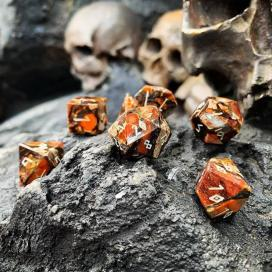 Bronzite and orange imperial jasper dice from Norse Foundry