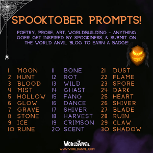 Spooktober 2021 Challenge image with World Anvil, containing writing prompts
