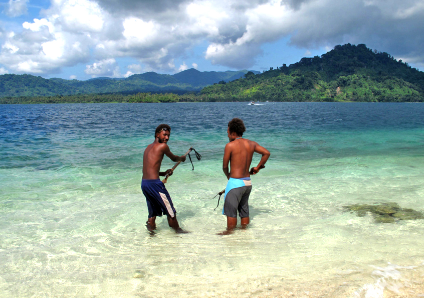 Spear fishing, Solomon Islands.