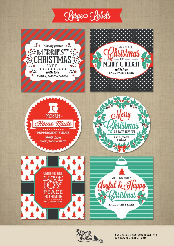 Merry Christmas Labels By Little Paper Sparrow Worldlabel Blog