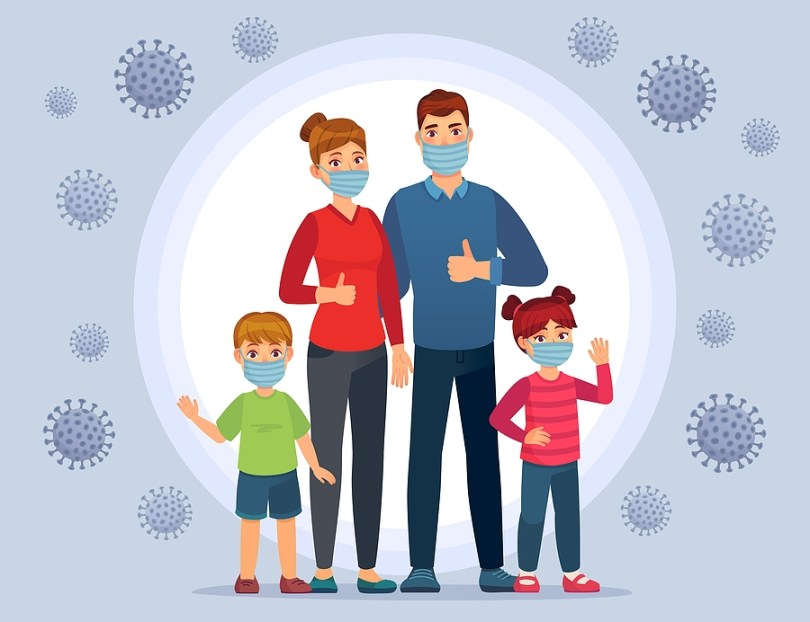 Family wearing Coronavirus protection masks. Face mask for kids, protect child from flu and Coronavirus. Healthy family on quarantine for prevent Covid-19 vector illustration. Family in protect mask