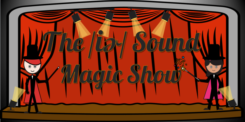 Picture of stage with red curtains and two cartoon magicians